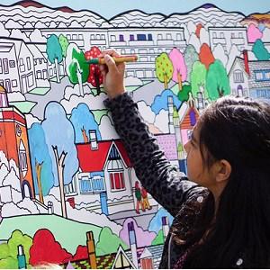 ציור קיר צבעוני לילדים